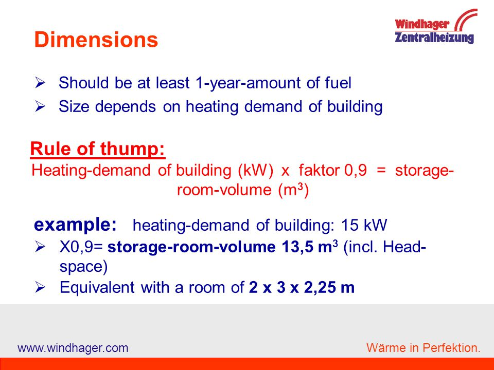 Dimensions Rule of thump: example: heating-demand of building: 15 kW