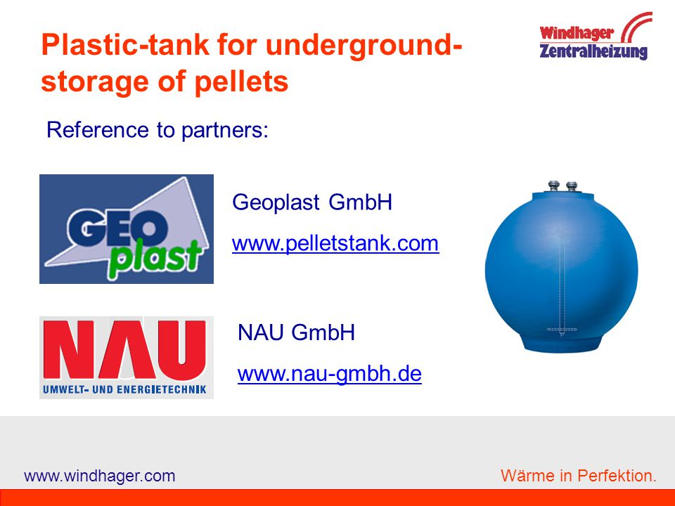 Plastic-tank for underground-storage of pellets
