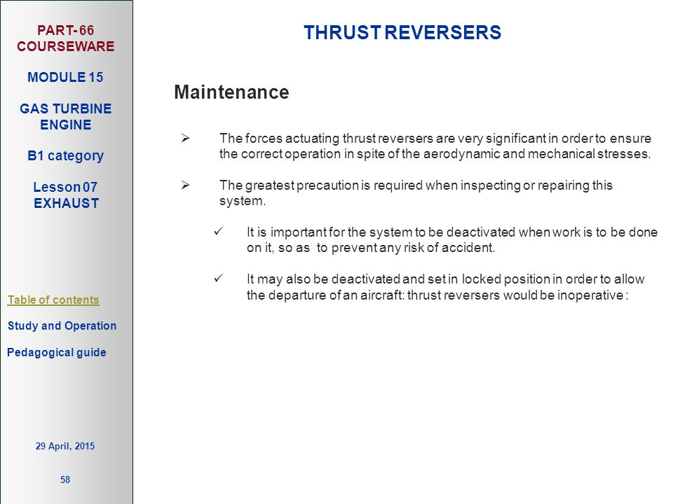 THRUST REVERSERS Maintenance