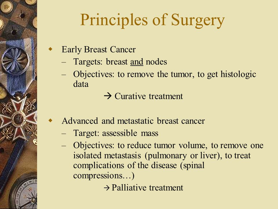 Principles of Surgery Early Breast Cancer Targets: breast and nodes