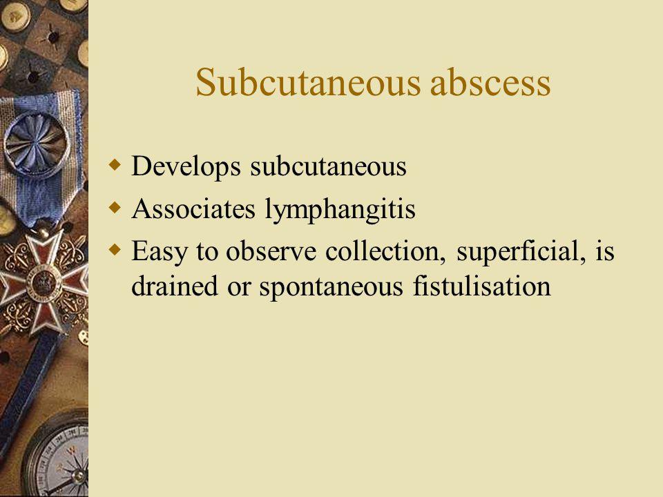 Subcutaneous abscess Develops subcutaneous Associates lymphangitis