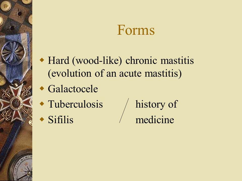 Forms Hard (wood-like) chronic mastitis (evolution of an acute mastitis) Galactocele. Tuberculosis history of.