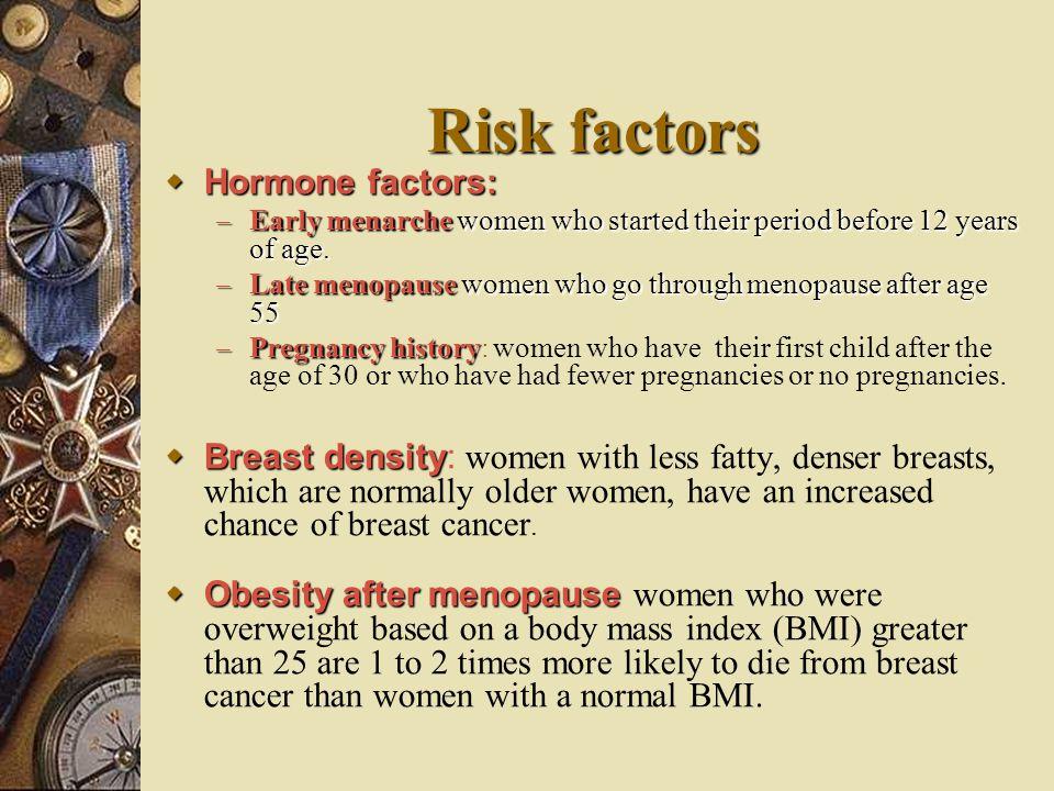 Risk factors Hormone factors: