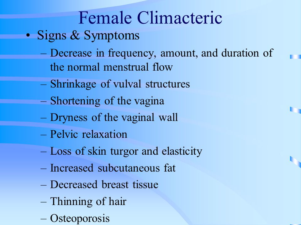 Female Climacteric Signs & Symptoms