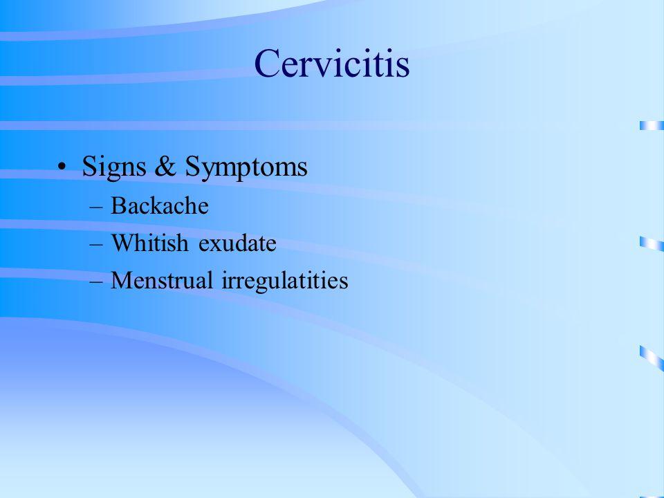 Cervicitis Signs & Symptoms Backache Whitish exudate