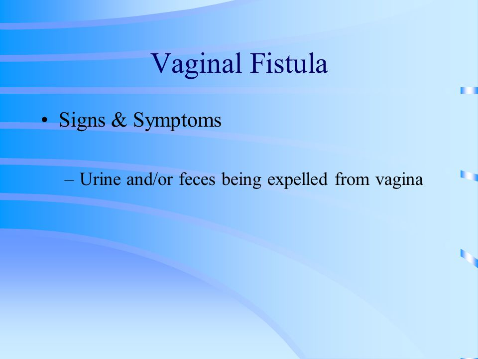 Vaginal Fistula Signs & Symptoms