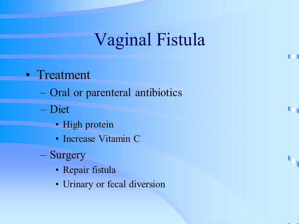 Vaginal Fistula Treatment Oral or parenteral antibiotics Diet Surgery