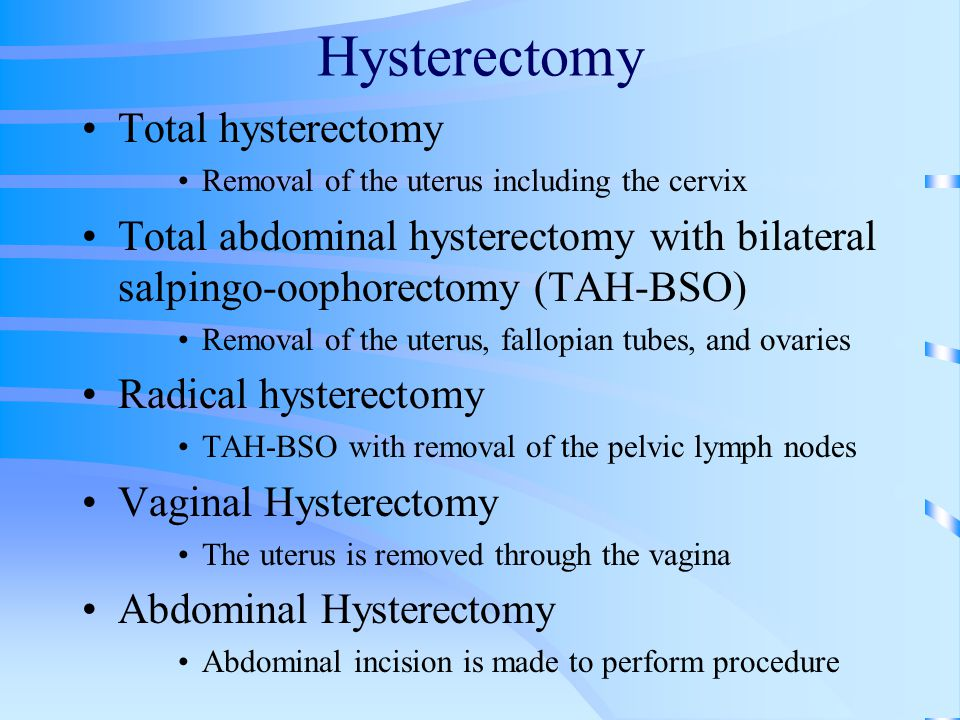 Hysterectomy Total hysterectomy