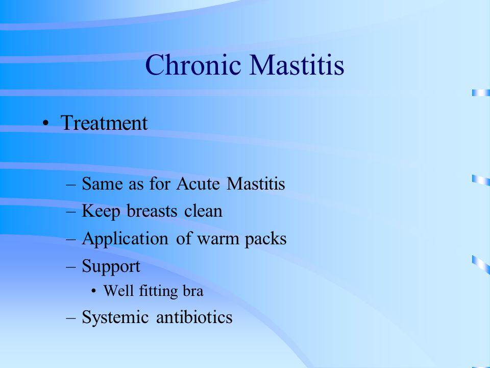 Chronic Mastitis Treatment Same as for Acute Mastitis