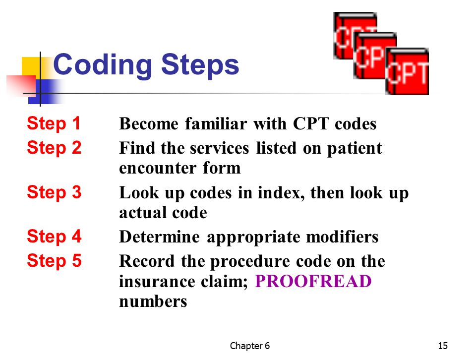 Coding Steps Step 1 Become familiar with CPT codes