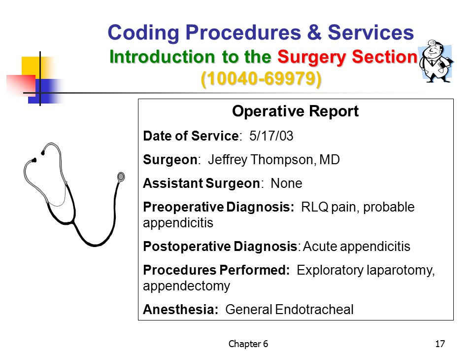 Coding Procedures & Services Introduction to the Surgery Section (10040-69979)