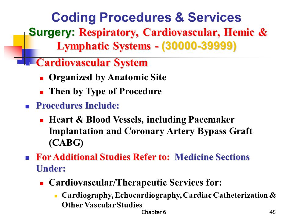 Coding Procedures & Services Surgery: Respiratory, Cardiovascular, Hemic & Lymphatic Systems - (30000-39999)