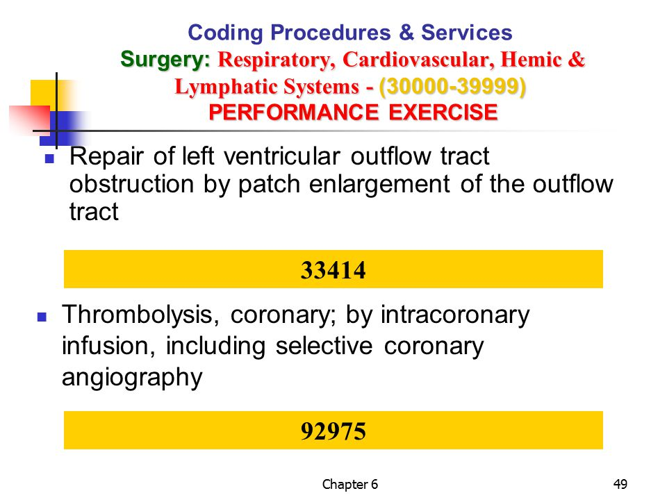 Coding Procedures & Services Surgery: Respiratory, Cardiovascular, Hemic & Lymphatic Systems - (30000-39999) PERFORMANCE EXERCISE