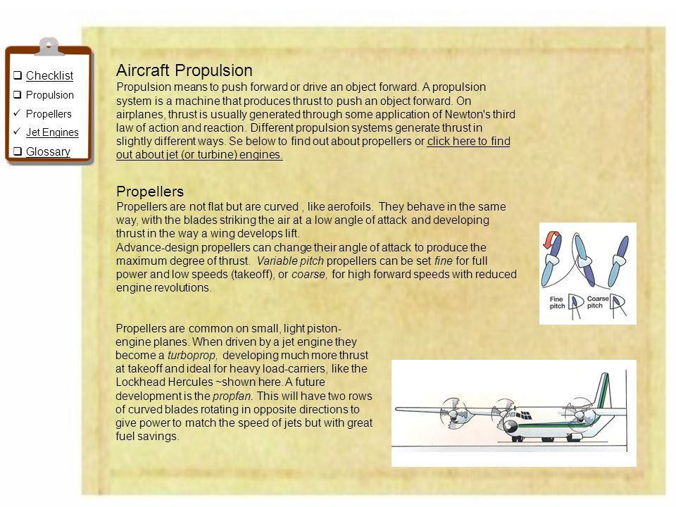 Aircraft Propulsion Propellers Checklist