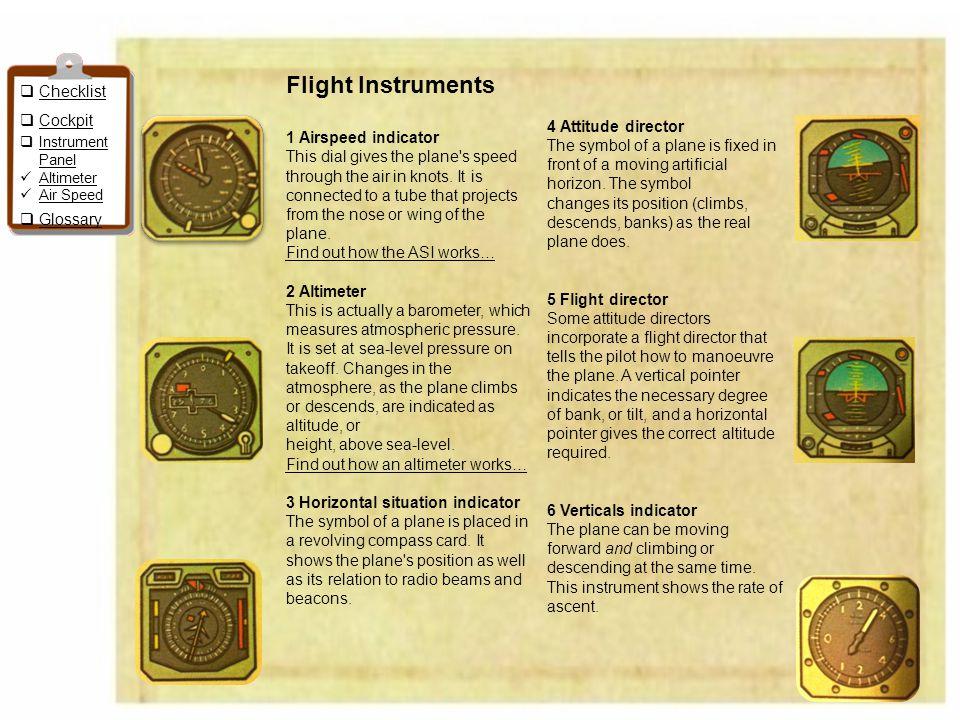Flight Instruments Checklist Cockpit 1 Airspeed indicator