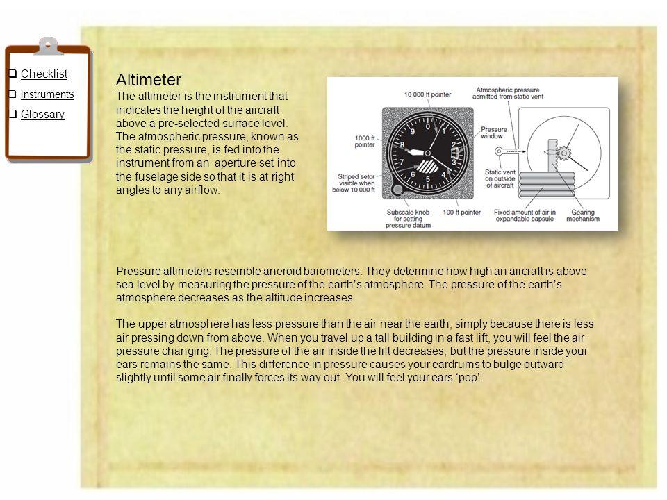 Altimeter Checklist Glossary