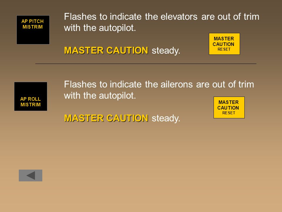 Flashes to indicate the elevators are out of trim with the autopilot.