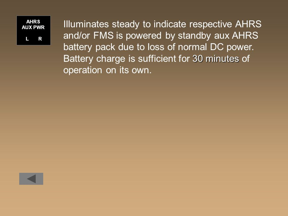 Illuminates steady to indicate respective AHRS
