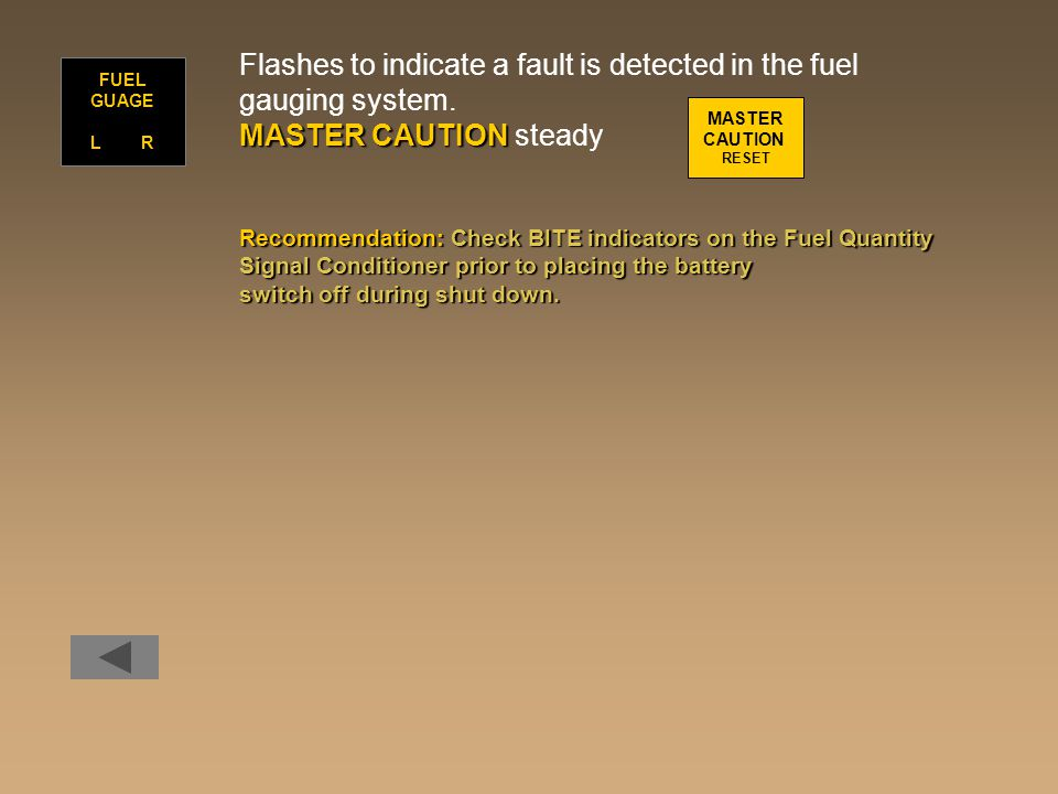 Flashes to indicate a fault is detected in the fuel gauging system.
