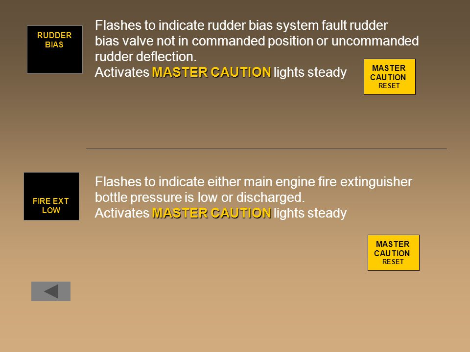 Flashes to indicate rudder bias system fault rudder