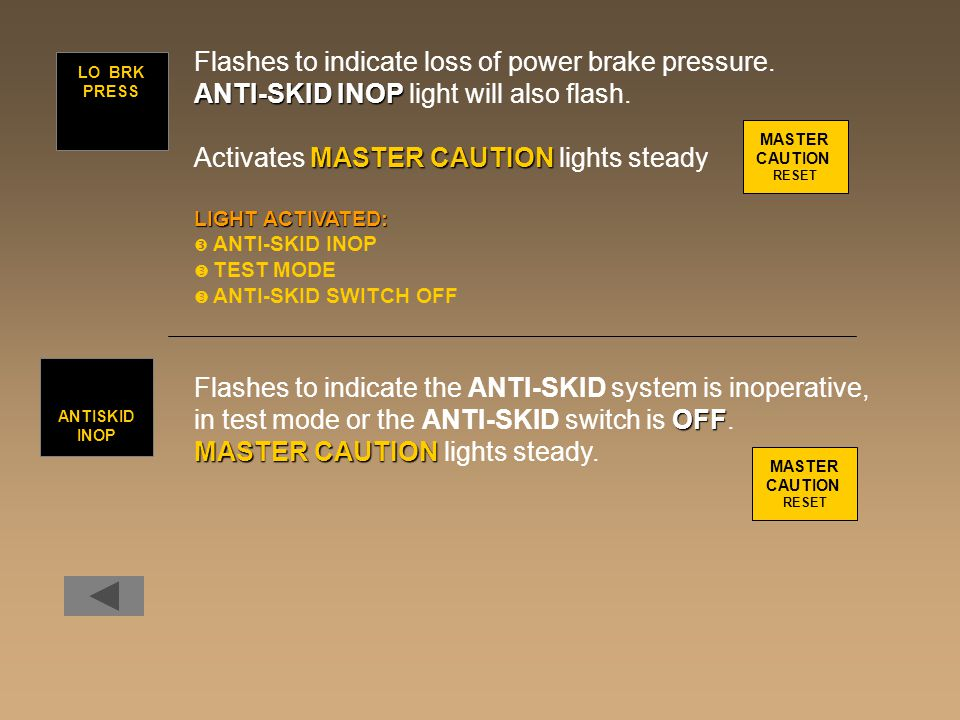 Flashes to indicate loss of power brake pressure.