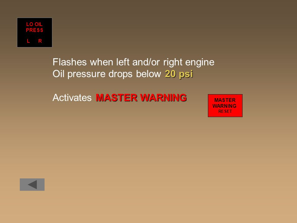Flashes when left and/or right engine Oil pressure drops below 20 psi