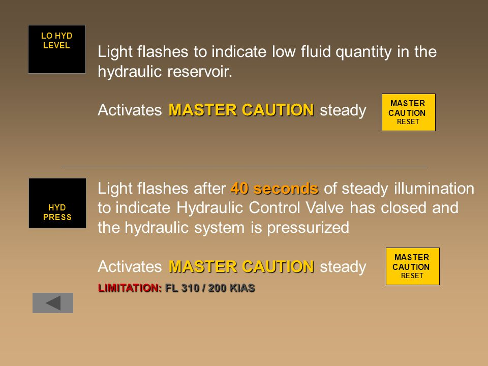 Light flashes to indicate low fluid quantity in the