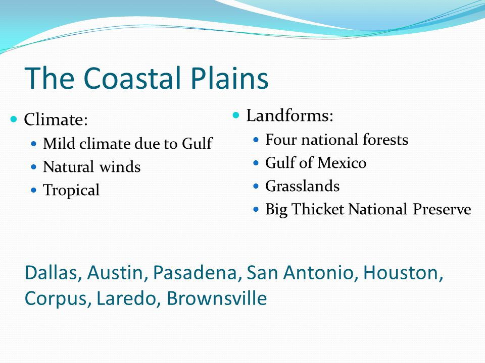 The Coastal Plains Landforms: Four national forests. Gulf of Mexico. Grasslands. Big Thicket National Preserve.