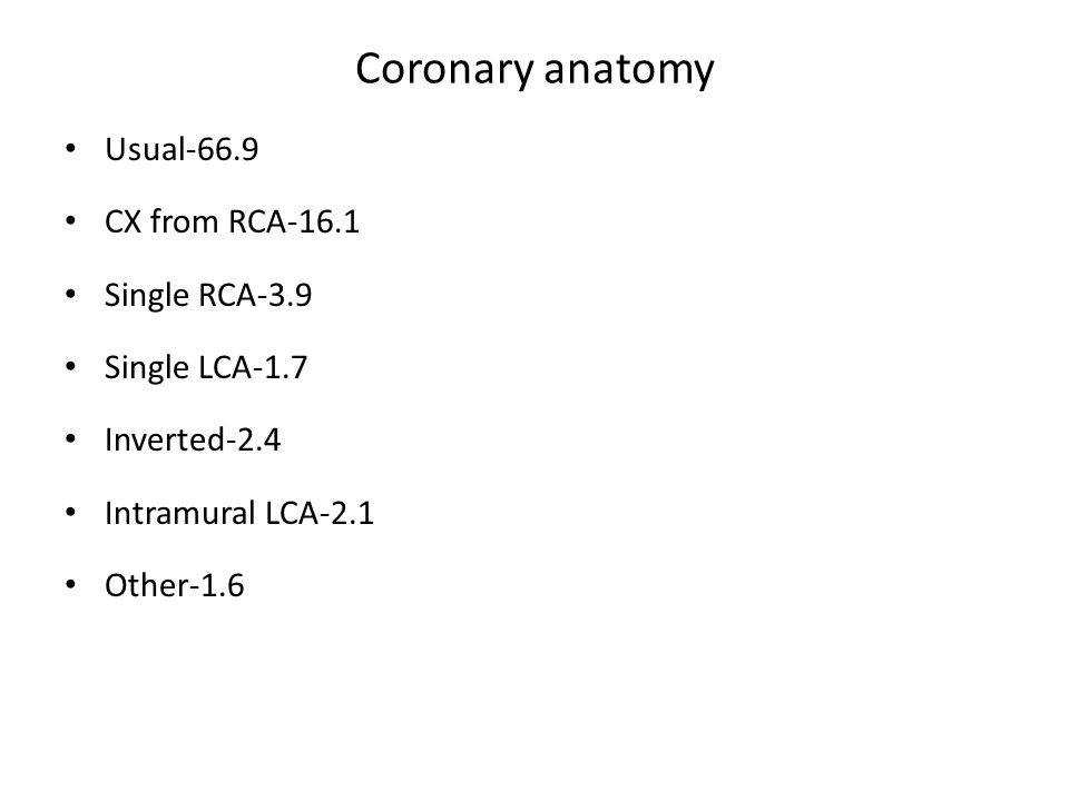 Coronary anatomy Usual-66.9 CX from RCA-16.1 Single RCA-3.9