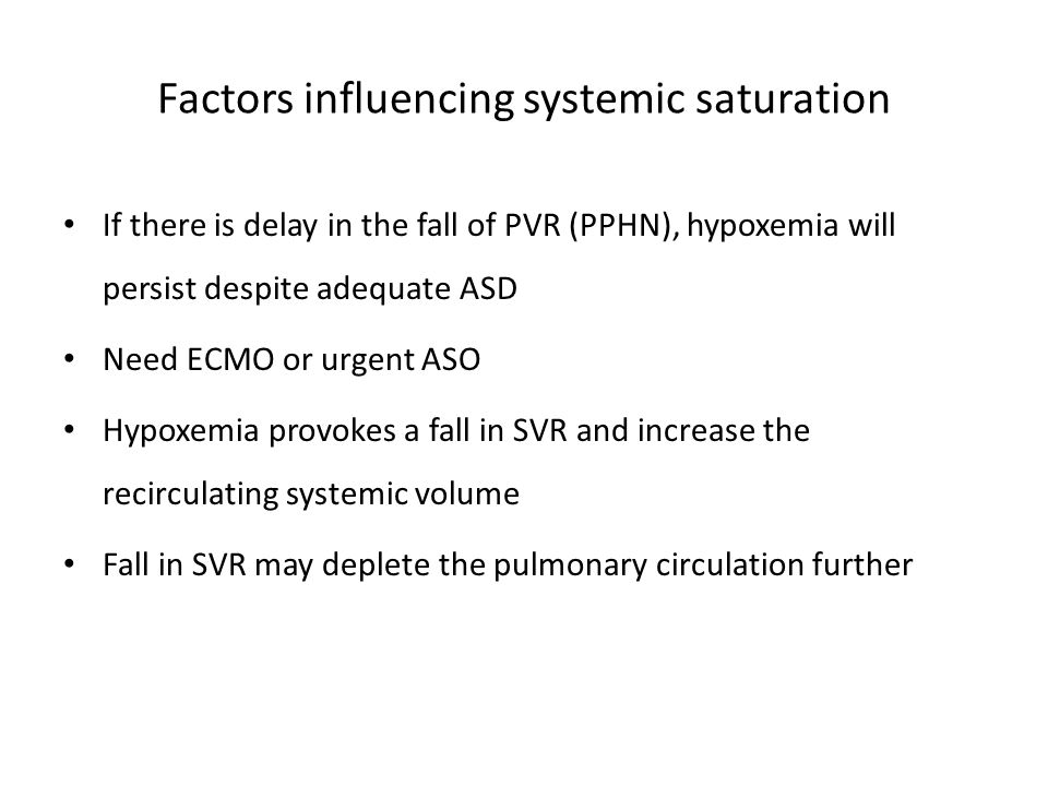 Factors influencing systemic saturation