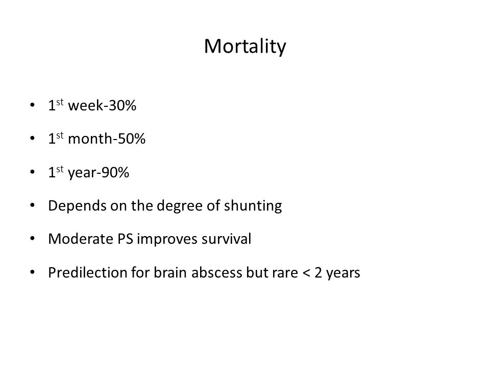 Mortality 1st week-30% 1st month-50% 1st year-90%