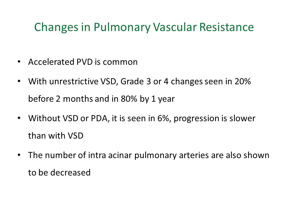 Changes in Pulmonary Vascular Resistance