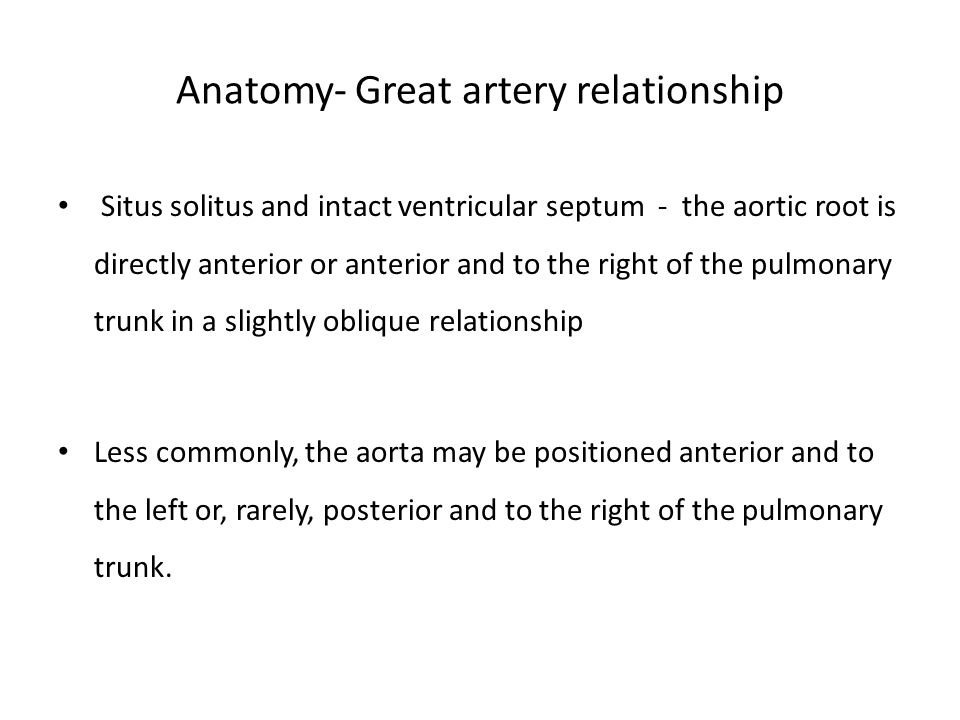 Anatomy- Great artery relationship