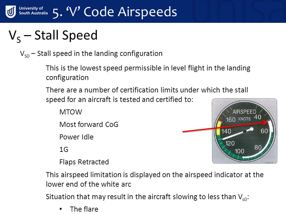 5. 'V' Code Airspeeds VS – Stall Speed