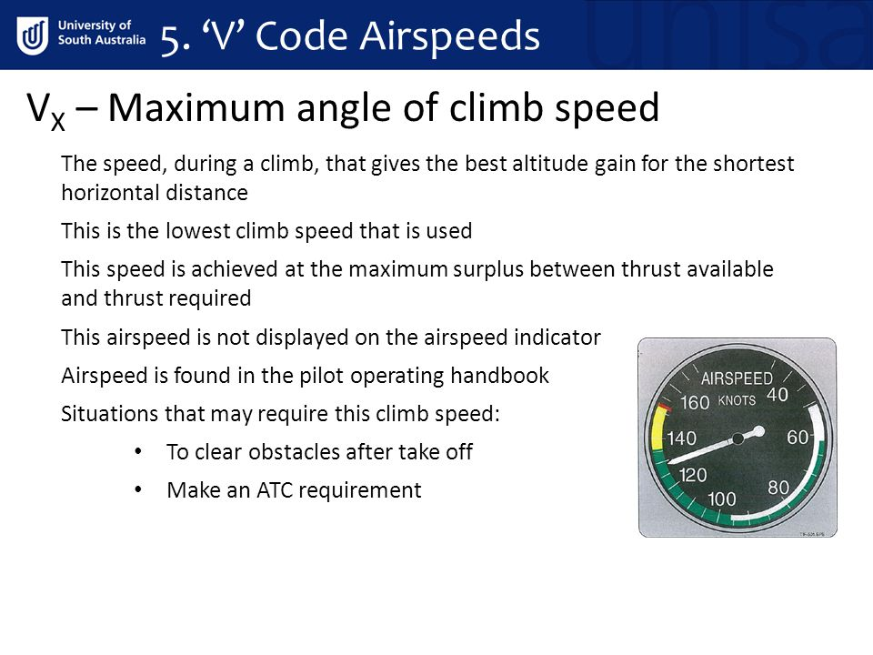 VX – Maximum angle of climb speed