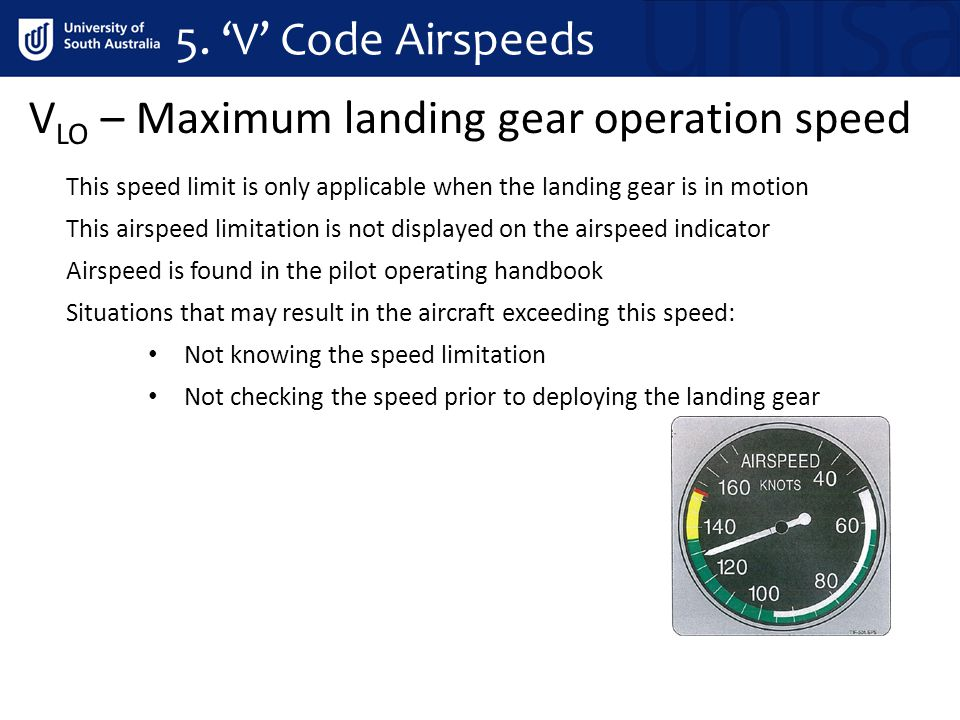 VLO – Maximum landing gear operation speed