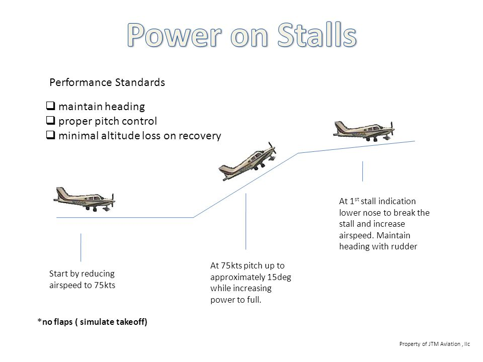 Power on Stalls Performance Standards maintain heading