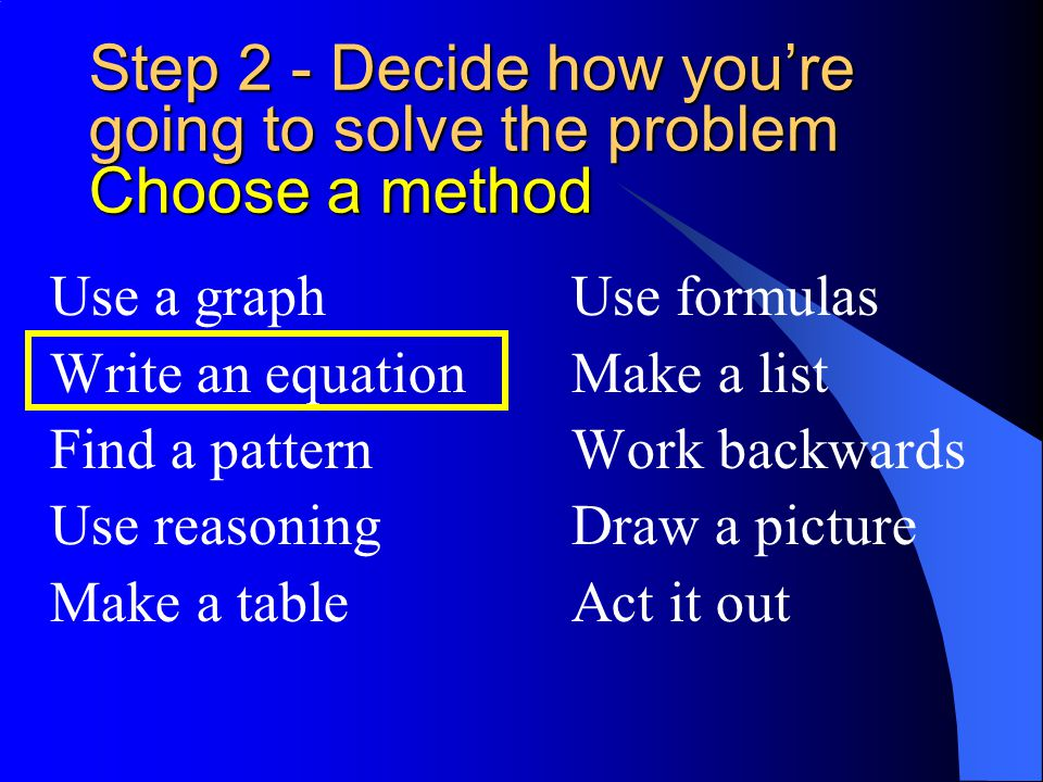 Step 2 - Decide how you're going to solve the problem Choose a method
