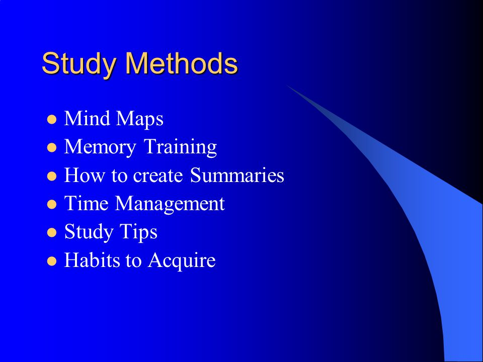 Study Methods Mind Maps Memory Training How to create Summaries