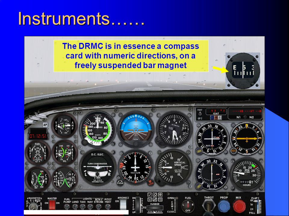 Instruments…… The DRMC is in essence a compass card with numeric directions, on a freely suspended bar magnet.