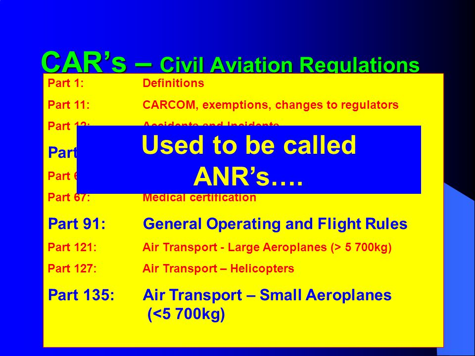 CAR's – Civil Aviation Regulations
