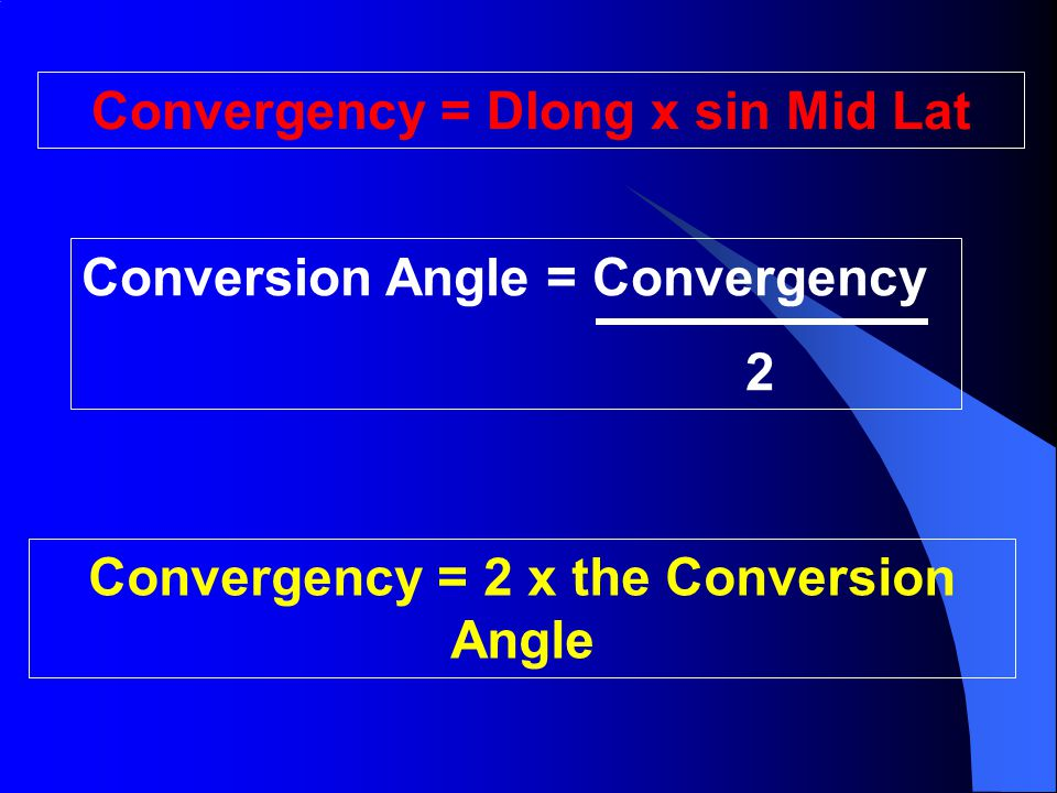 Convergency = Dlong x sin Mid Lat