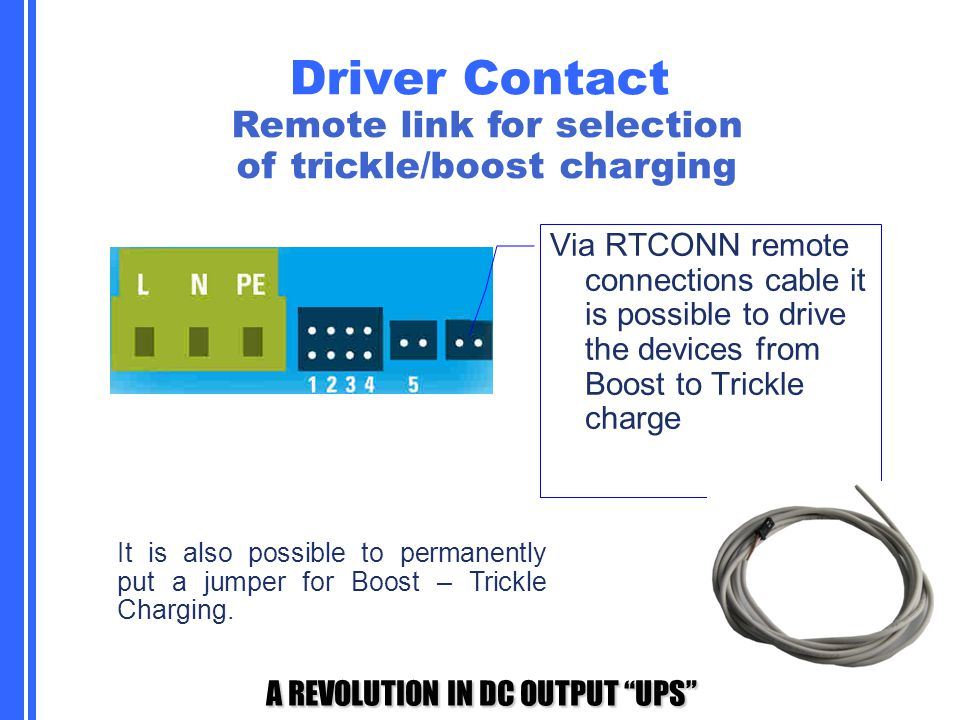 Remote link for selection of trickle/boost charging