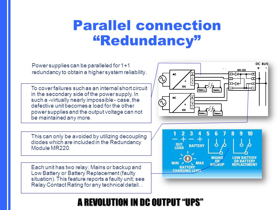 Parallel connection Redundancy