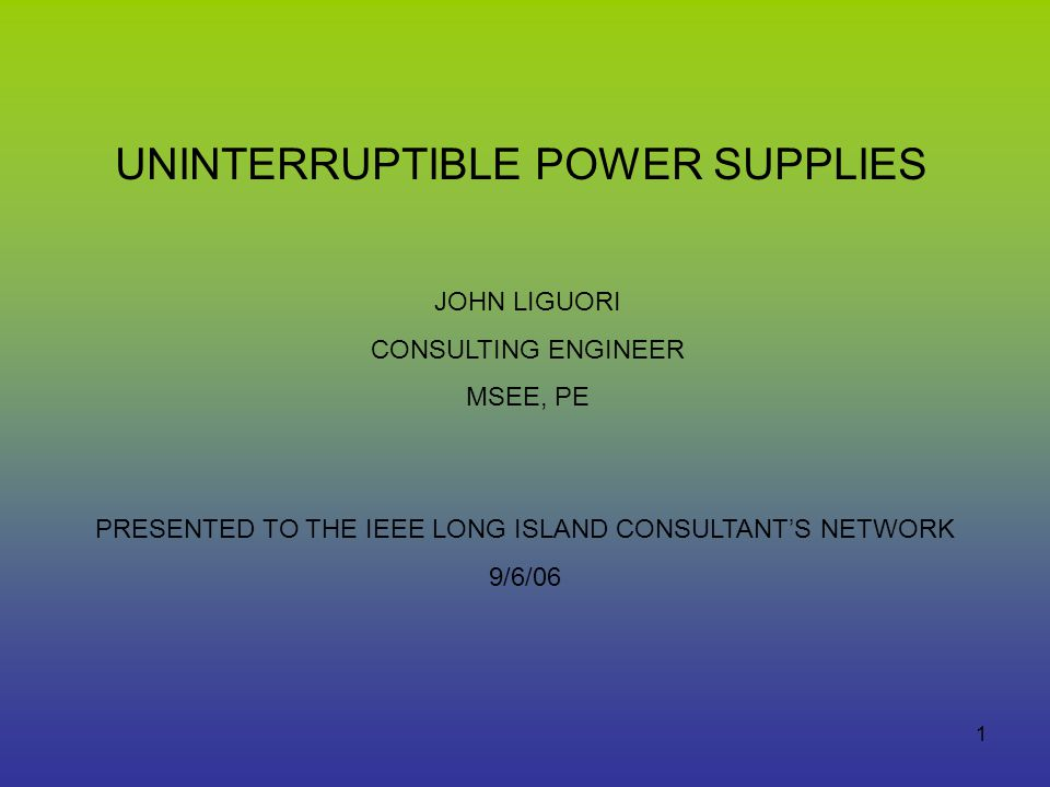 presented to the ieee long island consultants network - Network Consulting Engineer