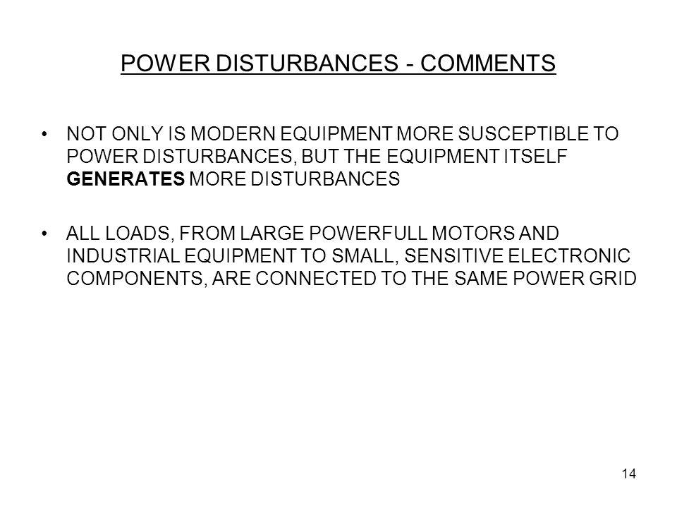 POWER DISTURBANCES - COMMENTS