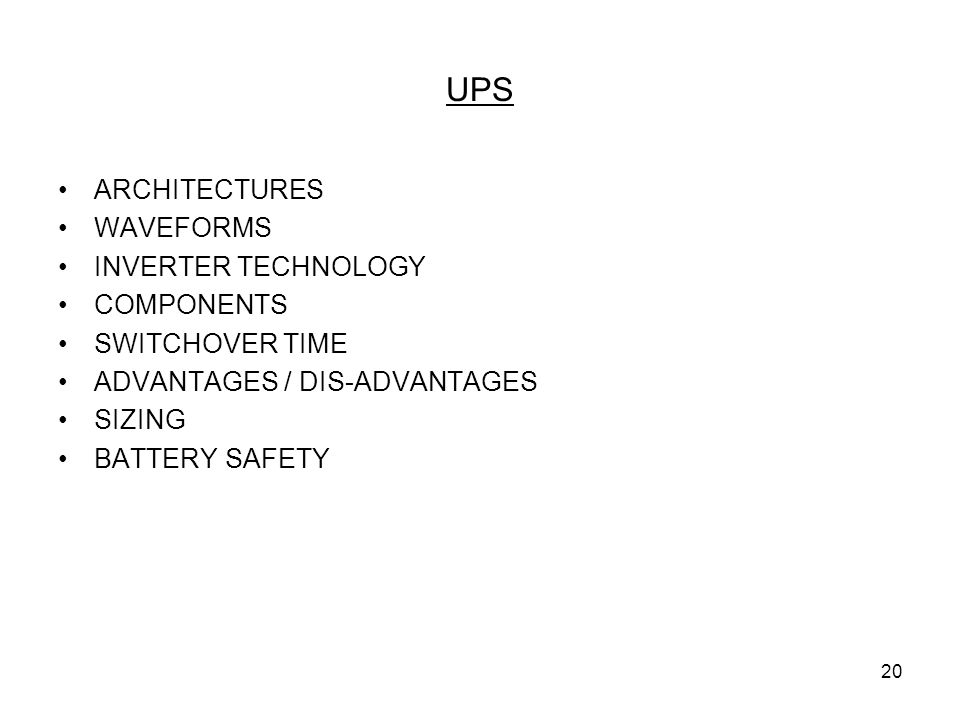 UPS ARCHITECTURES WAVEFORMS INVERTER TECHNOLOGY COMPONENTS