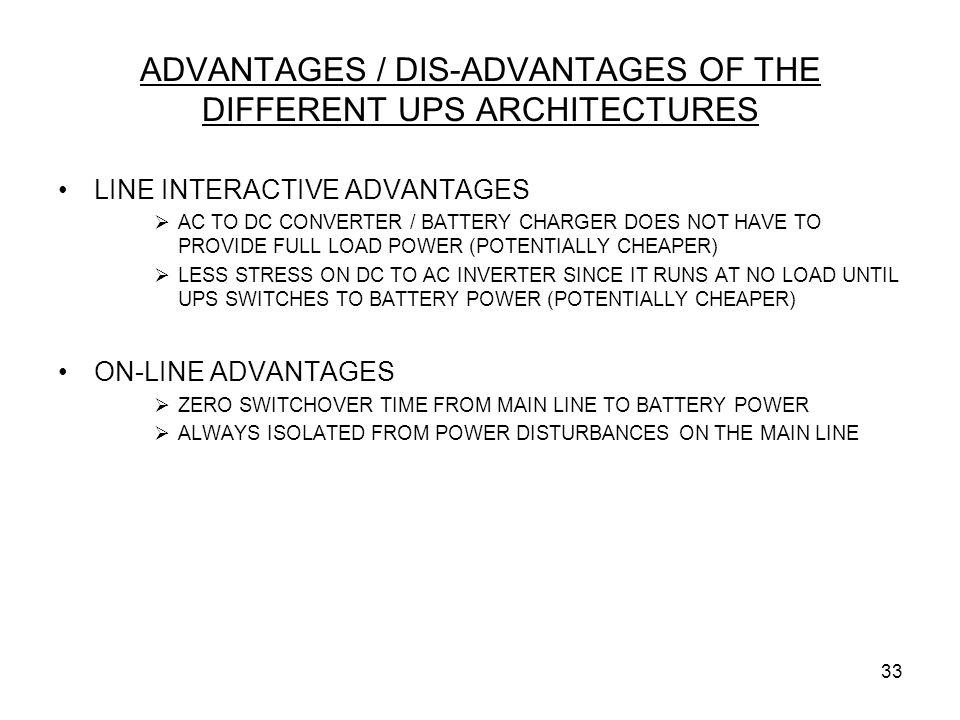 ADVANTAGES / DIS-ADVANTAGES OF THE DIFFERENT UPS ARCHITECTURES