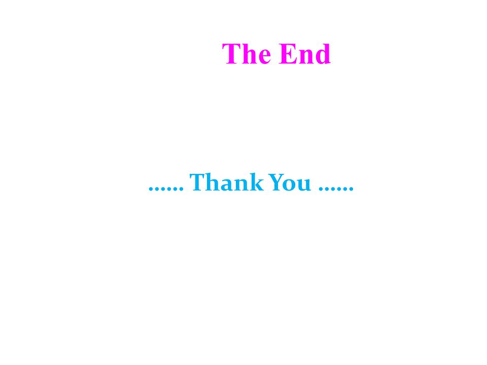 The End …… Thank You ……