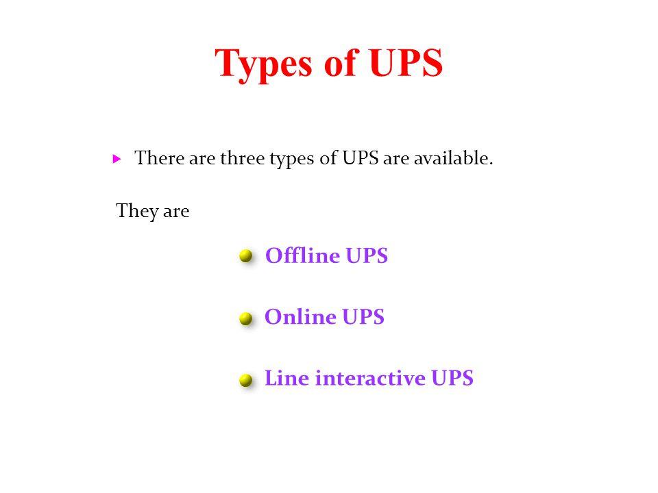 Types of UPS Offline UPS Online UPS Line interactive UPS